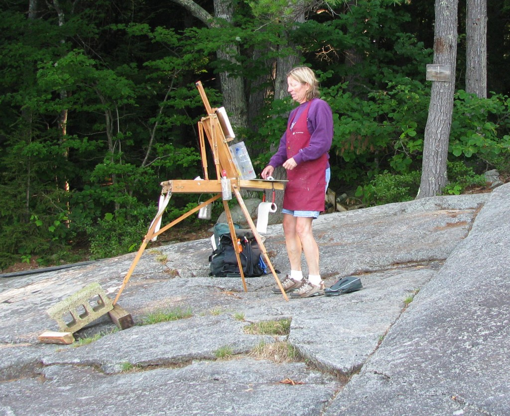 Painting on location, Newfound Lake NH