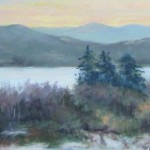 oil painting, fading light over Lake Sunapee