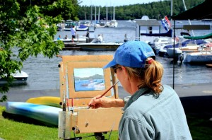 paintiong in Sunapee Harbor
