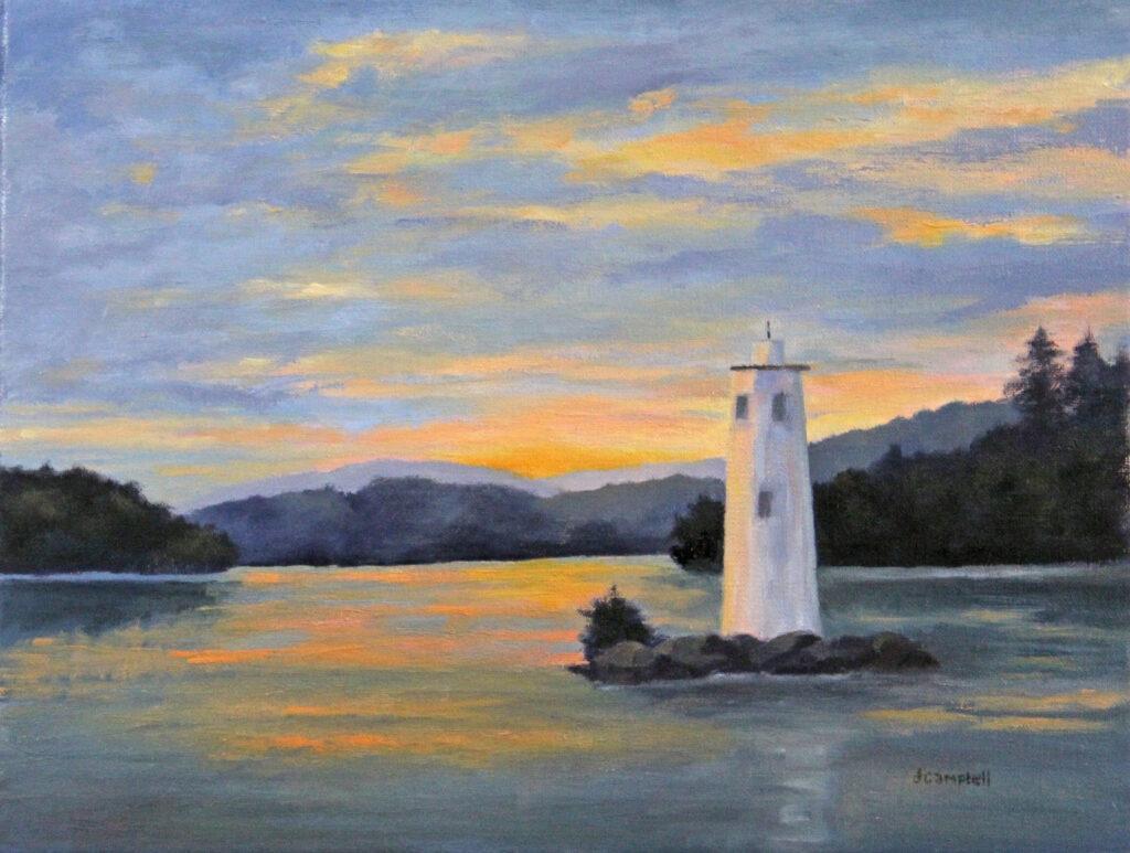 Loon Lighthouse at sunset Lake Sunapee