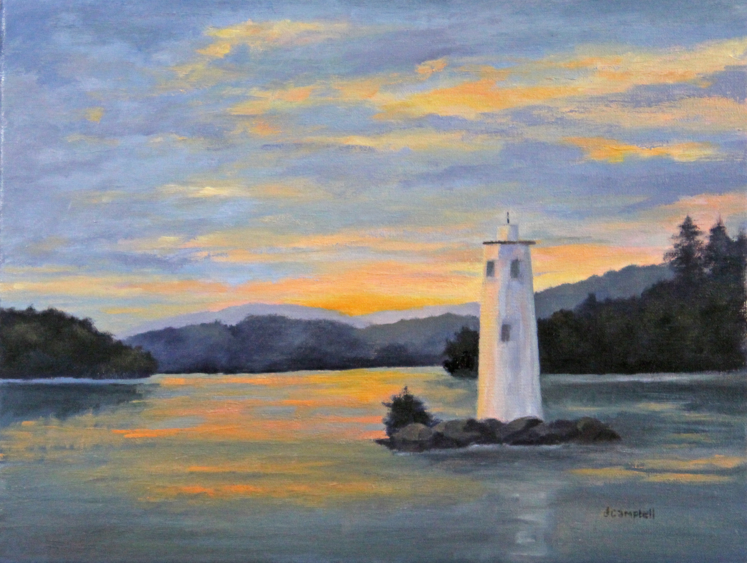 Loon lighthouse on Lake Sunapee at sunset