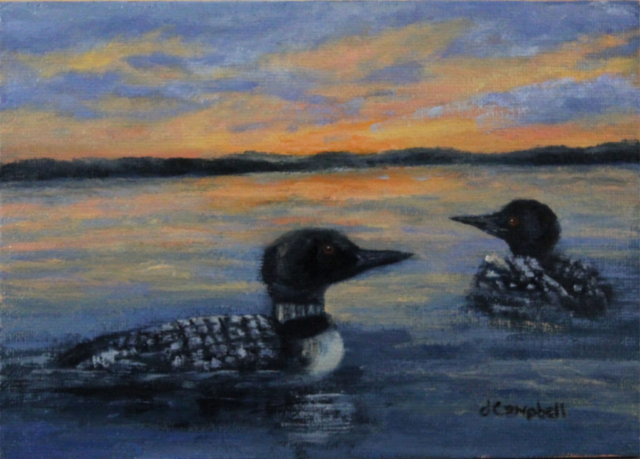 Two Loons at sunset