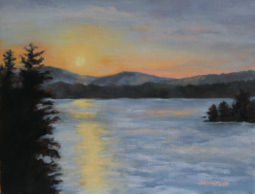 Winter Sunrise Over Gardener Bay Sunapee